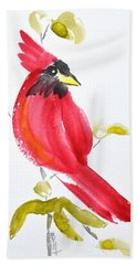 Bath Towel featuring the painting Sumi-e Cardinal II by Beverley Harper Tinsley