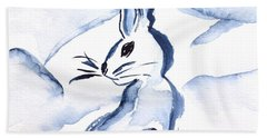 Sumi-e Snow Bunny Bath Towel