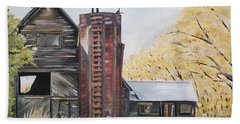 Hand Towel featuring the painting Golden Aged Barn -washington - Red Silo  by Jan Dappen