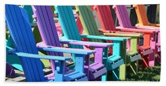 Bath Towel featuring the photograph Summer Beach Chairs by Jeannie Rhode