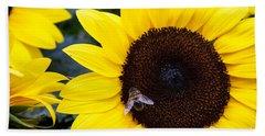 Summer Bee In Sunflower Hand Towel