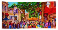 Hand Towel featuring the painting Summer Cafes by Carole Spandau
