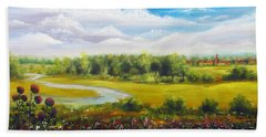 Hand Towel featuring the painting Summer Day by Vesna Martinjak