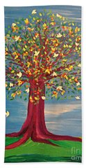 Bath Towel featuring the painting Summer Fantasy Tree by First Star Art