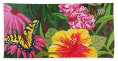 Bath Towel featuring the painting Summer Garden by Ellen Levinson
