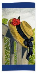 Hand Towel featuring the painting Summer Hat by Angela Davies