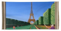 Bath Towel featuring the painting Summer In Paris by Ron Davidson