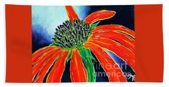 Hand Towel featuring the painting Summer Kissed Cone Flower by Jackie Carpenter