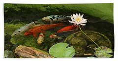 Summer Koi And Lilly Hand Towel