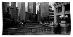 Summer On The Chicago River - Black And White Hand Towel