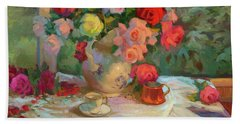 Summer Roses Hand Towel by Diane McClary