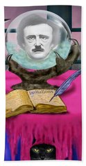 Summoning Edgar Allan Poe Bath Towel by Glenn Holbrook