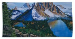 Hand Towel featuring the painting Sun Burst Peak by Sharon Duguay