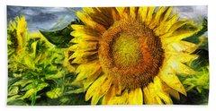 Sunflower Drawing  Hand Towel