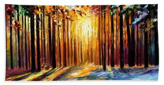 Sun Of January - Palette Knife Landscape Forest Oil Painting On Canvas By Leonid Afremov Hand Towel