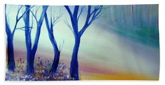 Bath Towel featuring the painting Sun Ray In Blue  by Lilia D