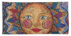 Bath Towel featuring the drawing Sun Tangle 2 by Megan Walsh