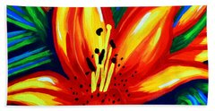 Hand Towel featuring the painting Sunburst by Jackie Carpenter