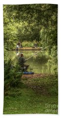 Bath Towel featuring the photograph Sunday Fishing At The Lake by Jeremy Hayden