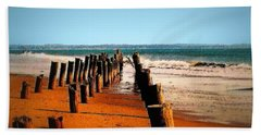 Hand Towel featuring the photograph Sundown At The Breakwater by Nadalyn Larsen