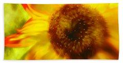 Bath Towel featuring the digital art Sunflower-a-blaze by Janie Johnson