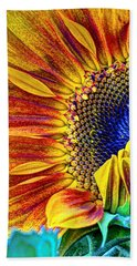 Sunflower Abstract Bath Towel