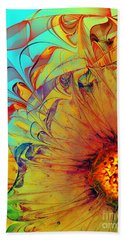 Sunflower Abstract Bath Towel by Klara Acel