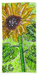 Hand Towel featuring the painting Sunflower Advice by Kathy Marrs Chandler