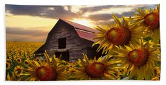 Sunflower Dance Bath Towel by Debra and Dave Vanderlaan