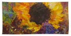 Sunflower Dance Original Painting Impressionist Hand Towel by Quin Sweetman