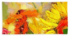 Hand Towel featuring the painting Sunflower Detail by Ana Maria Edulescu