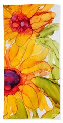 Sunflower Duo Hand Towel by Vicki  Housel