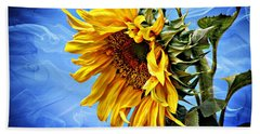 Hand Towel featuring the photograph Sunflower Fantasy by Barbara Chichester