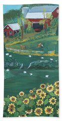 Hand Towel featuring the painting Sunflower Farm by Virginia Coyle
