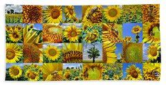 Sunflower Field Collage In Yellow Bath Towel