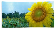 Sunflower Field Of Yellow Sunflowers By Jan Marvin Studios  Bath Towel
