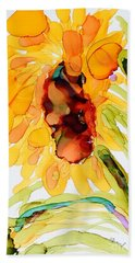 Sunflower Left Face Hand Towel by Vicki  Housel