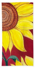 Sunflower On Red Hand Towel