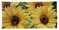 Hand Towel featuring the painting Sunflower by Sorin Apostolescu