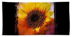 Bath Towel featuring the digital art Sunflower Sunset - Art Nouveau  by Absinthe Art By Michelle LeAnn Scott