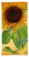 Sunny Sunflower Bath Towel by Carol F Austin
