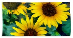 Bath Towel featuring the photograph Sunflower Trio  by Ann Powell