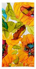 Sunflower Trio Hand Towel by Vicki  Housel