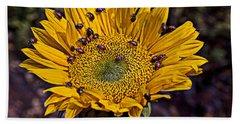 Sunflower With Ladybugs Hand Towel