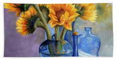 Sunflowers And Blue Bottles Bath Towel by Marlene Book