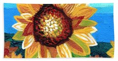 Sunflowers And Blue Sky Bath Towel by Genevieve Esson