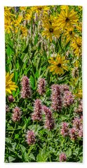 Bath Towel featuring the photograph Sunflowers And Horsemint by Sue Smith