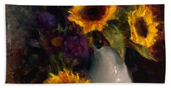 Sunflowers And Porcelain Still Life Bath Towel