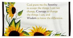Sunflowers And Serenity Prayer Hand Towel