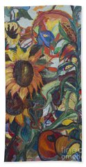 Bath Towel featuring the painting Sunflowers by Avonelle Kelsey